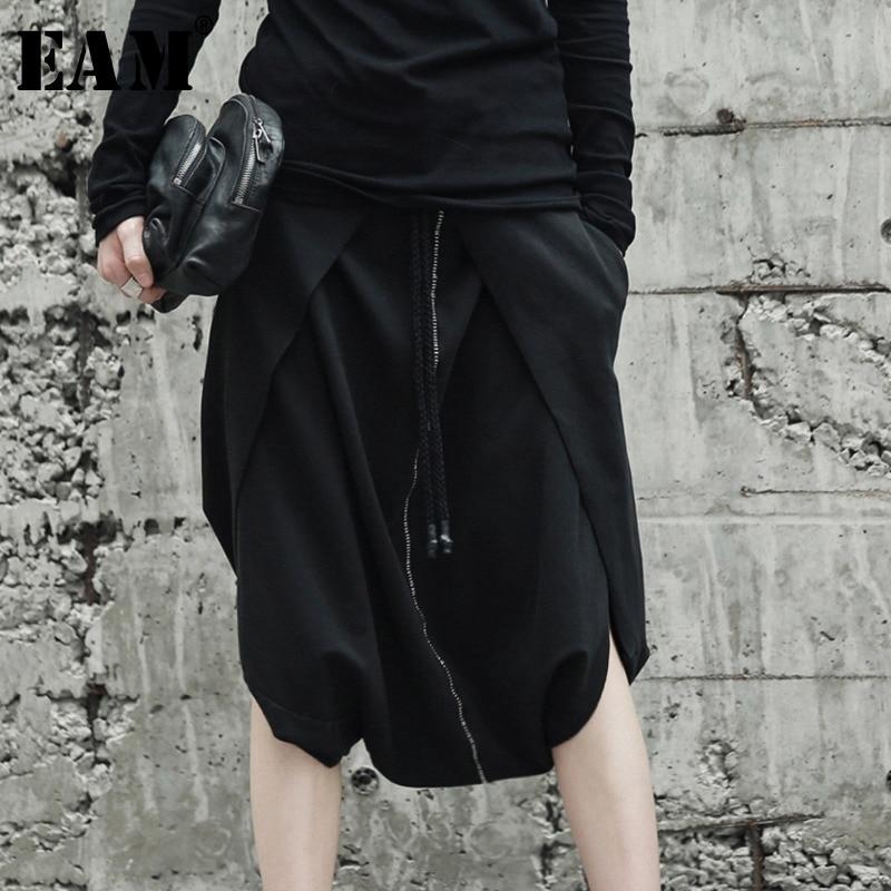 [EAM] Высокое качество 2018 Осень Зима Свободные Повседневное черный эластичный пояс по колено шаровары Новые Модные женские LA932