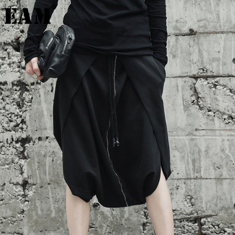 [EAM] High Quality 2020 SpringSummer Loose Casual Black Elastic Waist Knee Length Harem Pants Fashion New Women's LA932