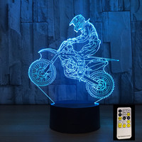 3D Motocross Bike Night Remote Or Touch Control Illusion Table Lamps 7 Colors USB Change Desk