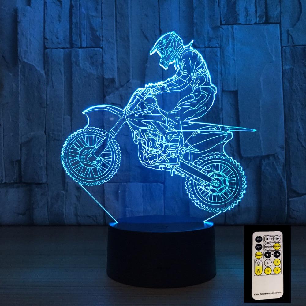 3D Motocross Vélo Nuit À Distance ou Tactile Contrôle Illusion Table Lampes 7 Couleurs USB Changement Lampe de Bureau Lampe de lumière de Nuit Pour Enfants Cadeau