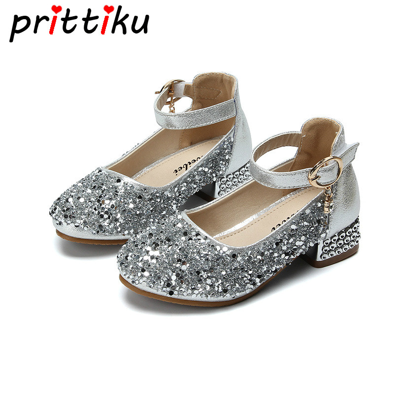 Girls Kids Glitter Dress Up Low Heeled Party Shoes Bridesmaid Size 8-2