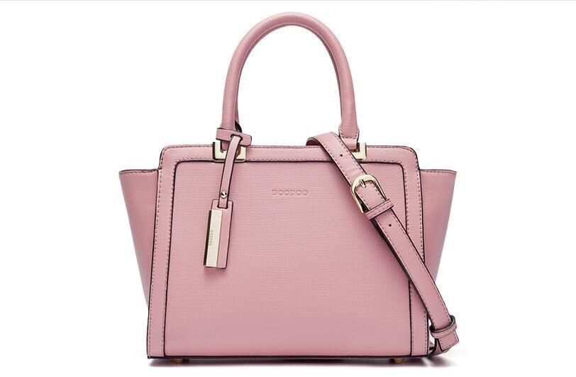 цена на Original DOODOO FR419 Trapeze Tote Women Leather Handbags Ladies Party Shoulder Bags Fashion Top-Handle Bags Bolsa Feminina
