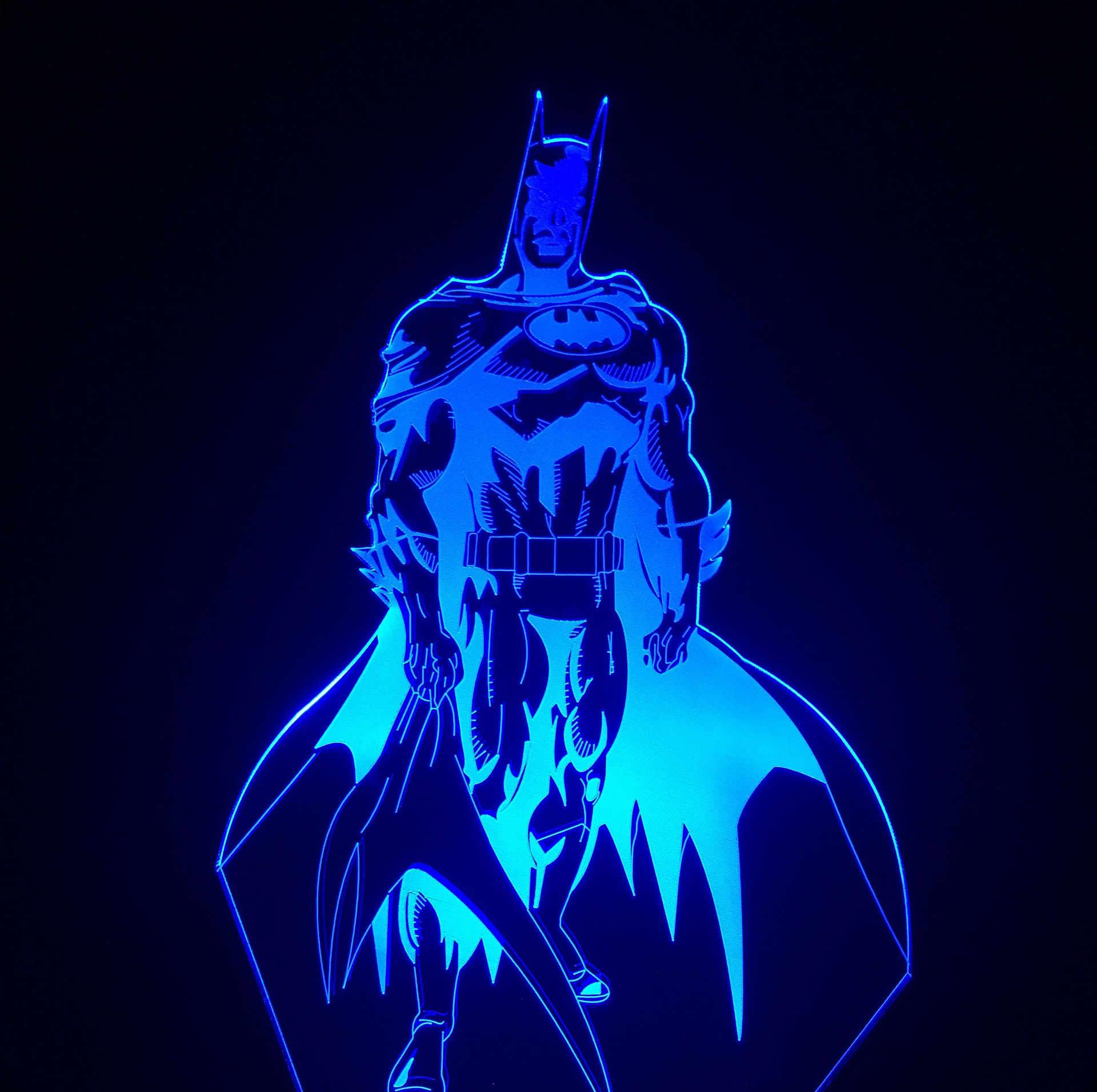 eb7019ea94 Batman 7 Color 3D Holograma Lights Luz De LED Automatic Flash 3D Nightlight  Smart Touch Home
