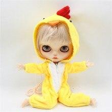Blythe Кукольное платье маленький желтый костюм цыпленка, розовый костюм свинки подходит для ледяной, blyth кукла, шарнирная кукла, 1/6, licca