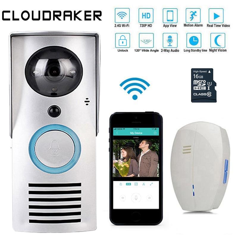CLOUDRAKER WIFI Video Doorbell Unlock Wireless Door Phone Wifi Intercom System Smart Doorbell HD Camera Night Vision IR Alarm