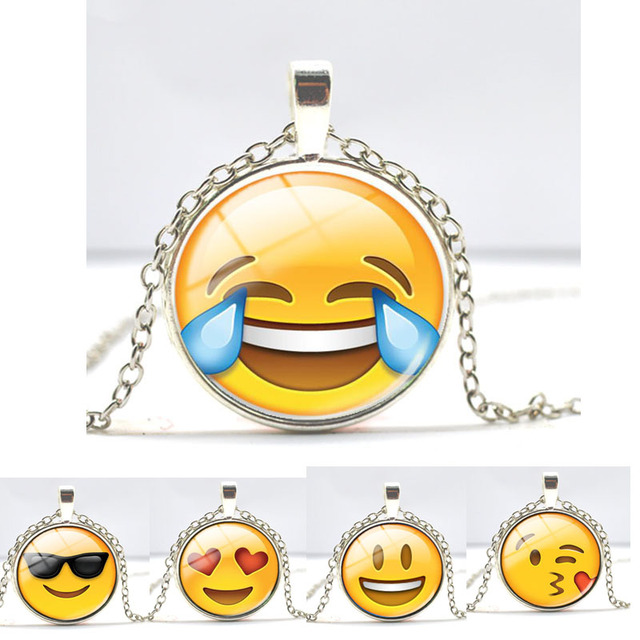 13 styles emoji smiley face pendant necklace glass cabochon silver 13 styles emoji smiley face pendant necklace glass cabochon silver chain necklaces for women jewelry birthday aloadofball