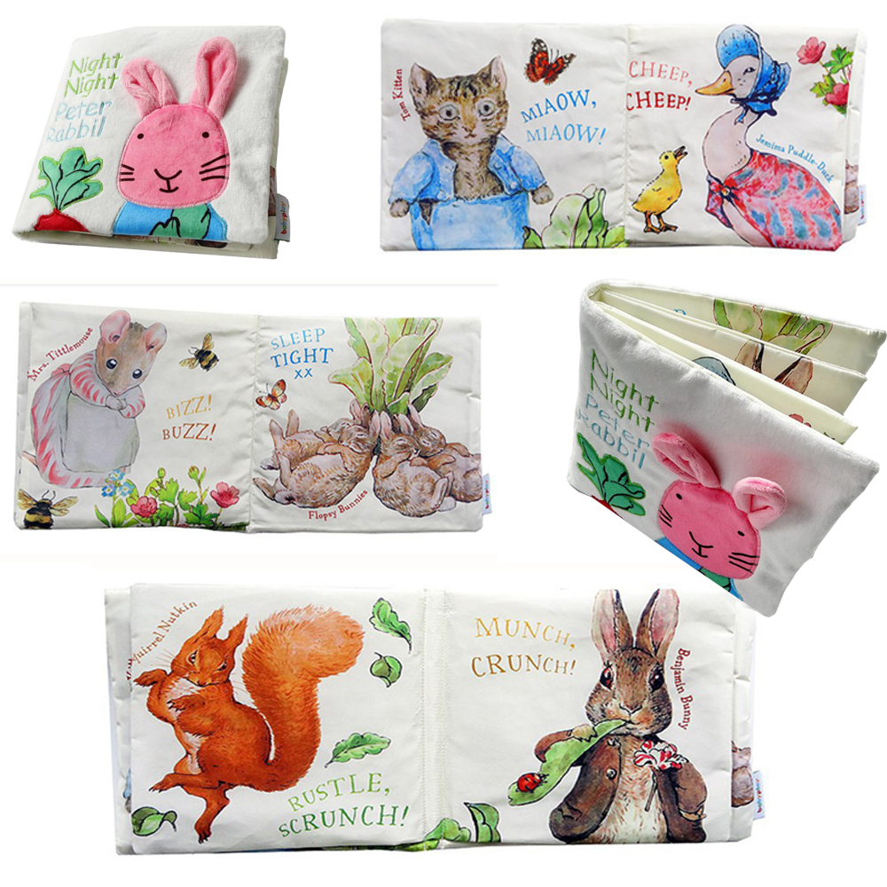 Lovely Cute Baby Cloth Book Night Rabbit Baby Educational Toys Animal Cat Rabbit Duck Squirrel Rattle Infant Toys