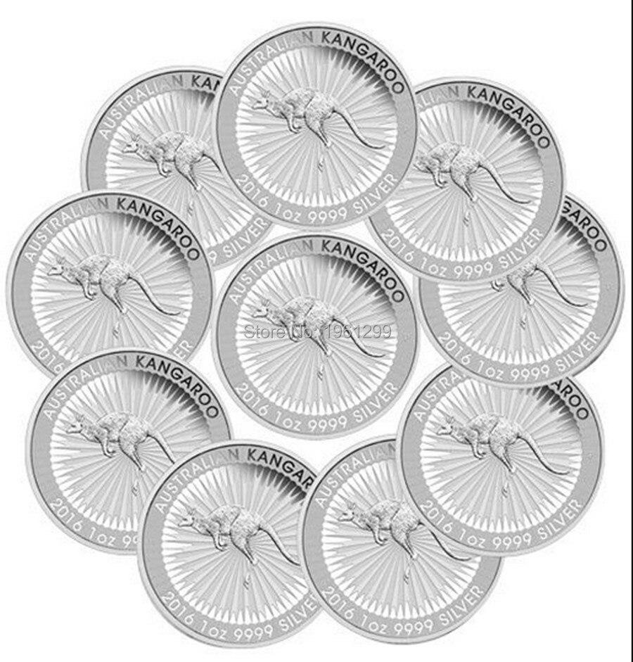 Новый дизайн, 10 шт./лот, латунное покрытие, серебро 2016, Австралия, $1 Тройная унция, серебряная монета кенгуру, без магнитной монеты