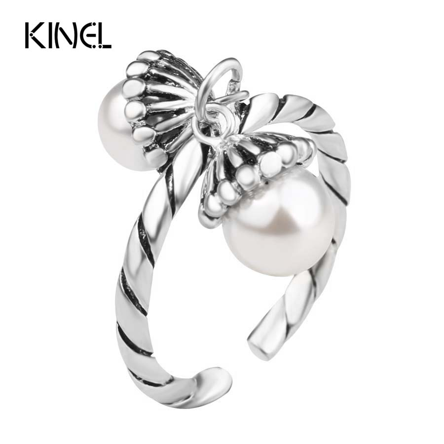 Luxury Korea 925 Sterling Silver Ring Natural Pearl Vintage Jewelry Fringed Opening Midi Rings For Women