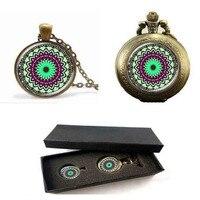 Antigo flor henna mandala flor pingente colares de yaga jewwlry cúpula de vidro artesanal colar relógio de bolso com caixa livre