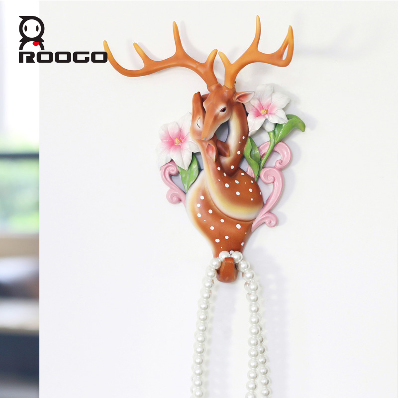 Roogo coloré couple forme animale mur cintre cerf tête manteau chapeau crochet support étagères résine décor à la maison cadeau de mariage pour ami