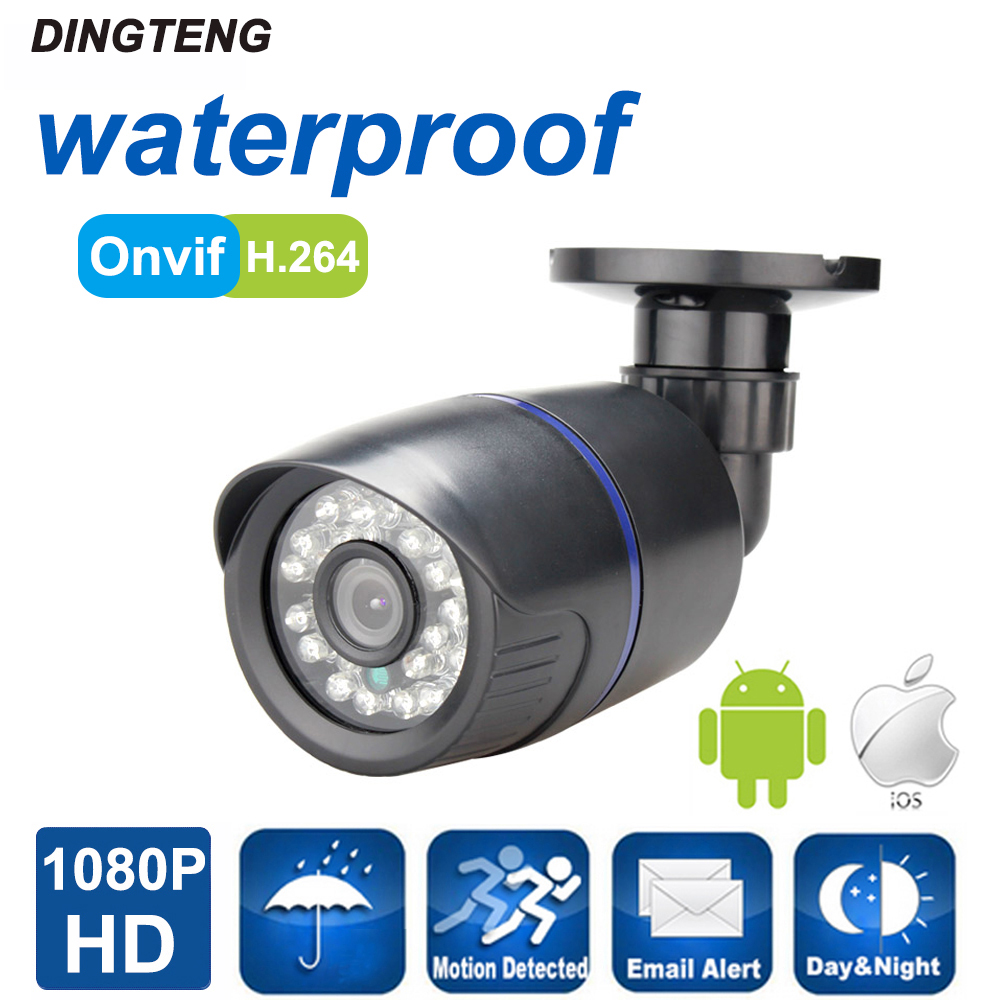ФОТО IP Camera HD 1080P 2MP  Over Ethernet Out/Indoor HD Lens ONVIF ABS Waterproof Night Vision P2P Plug&Play cctv Camera