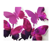 12pcs/set New Arrive Mirror Violet 3D Butterfly Wall Stickers Party Wedding Decor DIY Home Decorations