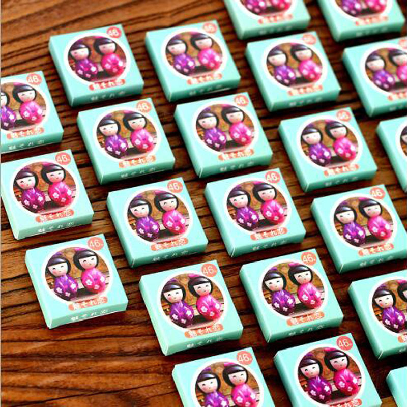Купить с кэшбэком NEW Japanese Doll Paper Sticker Decoration DIY Diary Scrapbooking Planner Gift Packing Seal Kawaii Stationery 46pcs/box
