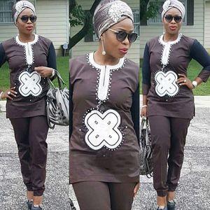 Image 2 - H & D dashiki conjunto para Padre hijo, ropa africana para mujer, camisa bordada, pantalón, trajes de 2 piezas, 2020