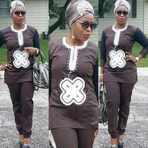 Image 2 - H & D dashiki ebeveyn çocuk seti 2020 afrika çocuk giyim afrika kadınlar anne çocuk giyim nakış gömlek pantolon 2 parça takım elbise