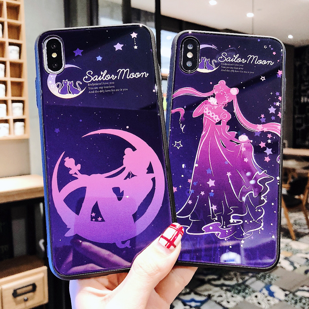 US $2 78 7% OFF|Luxury New Trend Cartoon Anime White Glass Sailormoon  Mobile Phone Case For iphone X XR XS MAX Cover For iphone 6S 6 7 8 Plus-in  Phone