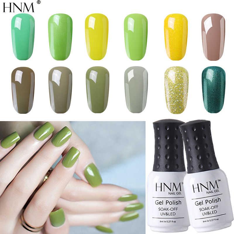 HNM 8ml New UV Gel Nail Polish Green Pure Glliter Color Soak Off Nail Gel Polish For Nails Art UV LED LampLacquer Base Top Coat