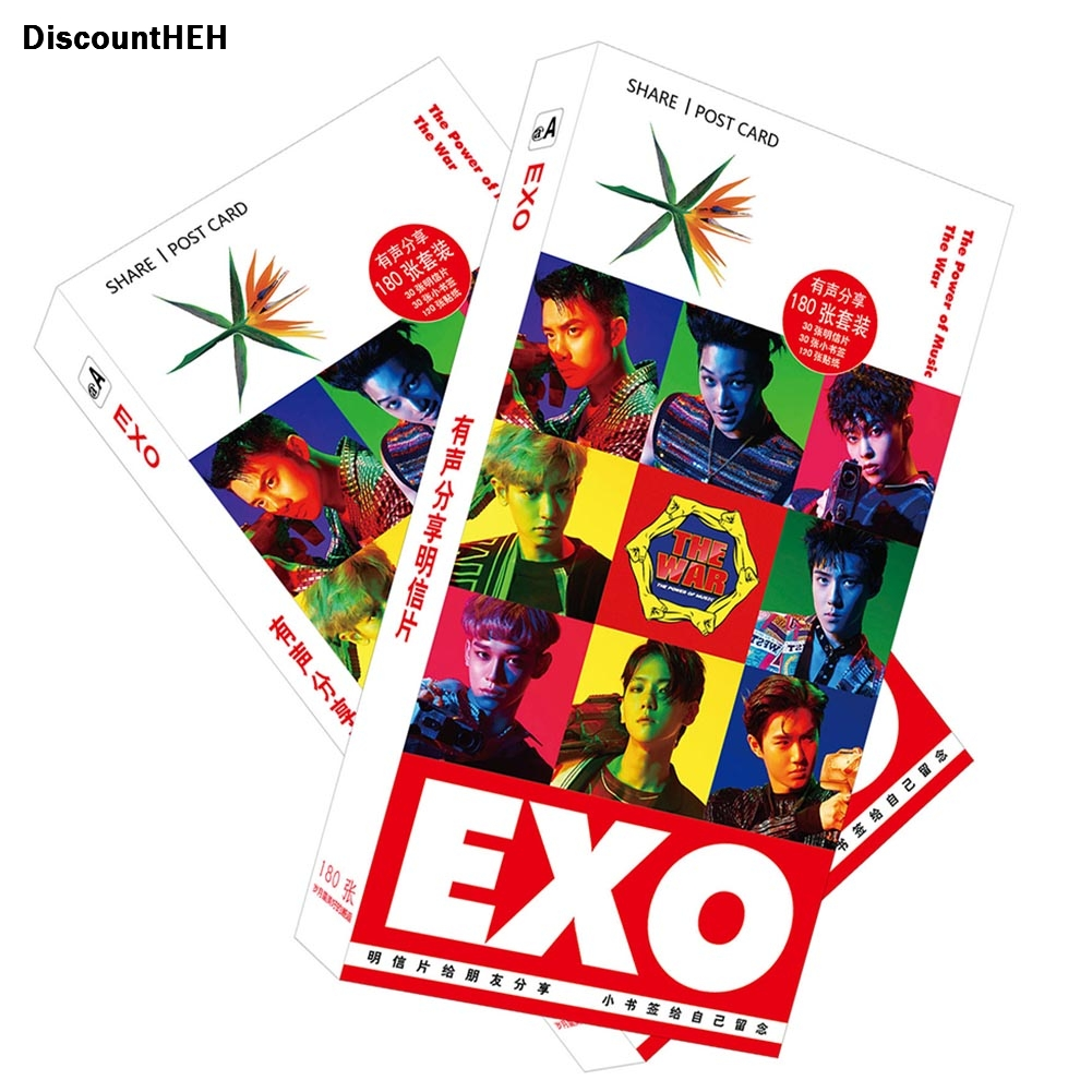 2017 1set: 30 Postcards 30 Small Cards 120 Stickers Photo Cards Share EXO Post Cards Set Album card Stationery set office 30pcs in one postcard take a walk on the go dubai arab emirates christmas postcards greeting birthday message cards 10 2x14 2cm