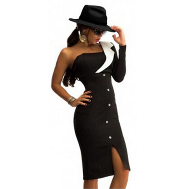 Чудо Красота Для женщин Лето Тощий Платье на Одно Плечо Пуговицы Дизайн Vestidos ночной клуб по колено платье без бретелек Туника