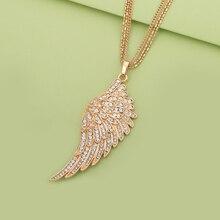 Подвеска с крыльями ангела, ожерелье для женщин, Модные женские ювелирные изделия, розовое золото, длинная Многослойная цепь, ожерелье s& Подвески, подарок