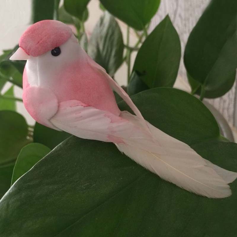 12PCS, 10 * 4 * 4.5cm Dekorativa Mini Pink Bird Artificial Foam Feather Love Birds Med Clip För Juldekoration, Bröllop, Hem