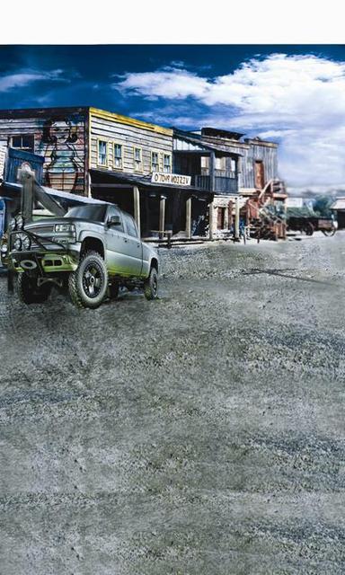 Western Town Theme Studio Backdrop Car Photography Background Pickup Truck Photo Digital Cloth F 5270