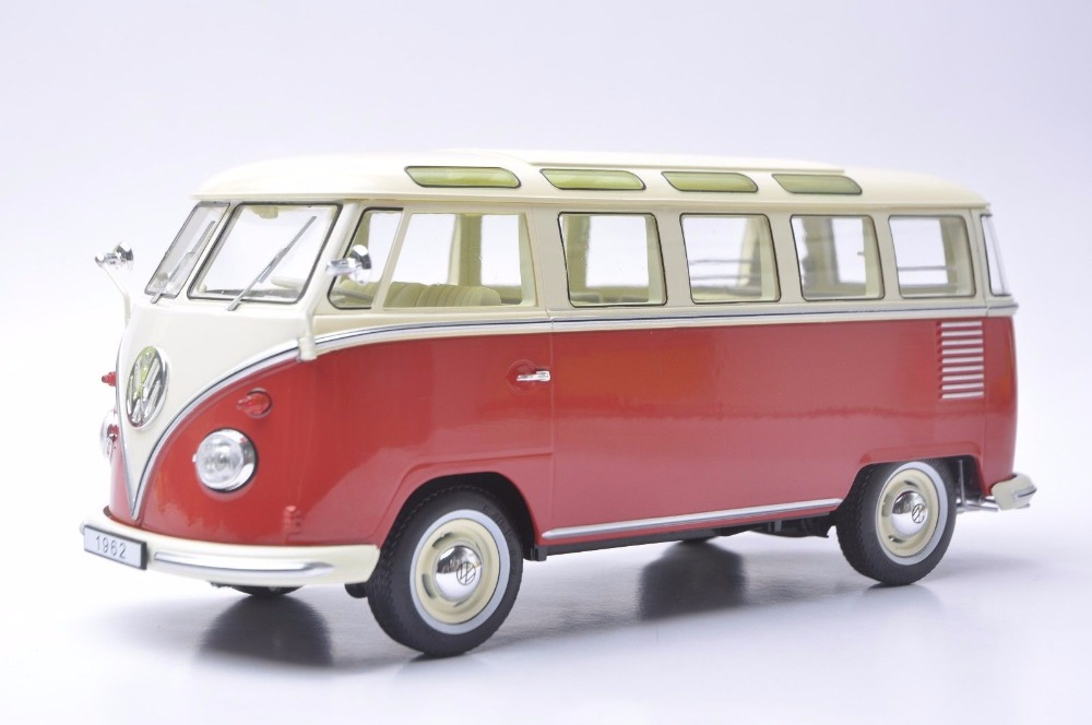 1:18 Diecast Model for Volkswagen VW T1 Samba 1962 Red&White Bus Kombi Alloy Toy Car Miniature Collection Gifts T2 1 38 china gold dragon bus models xml6122 diecast bus model blue