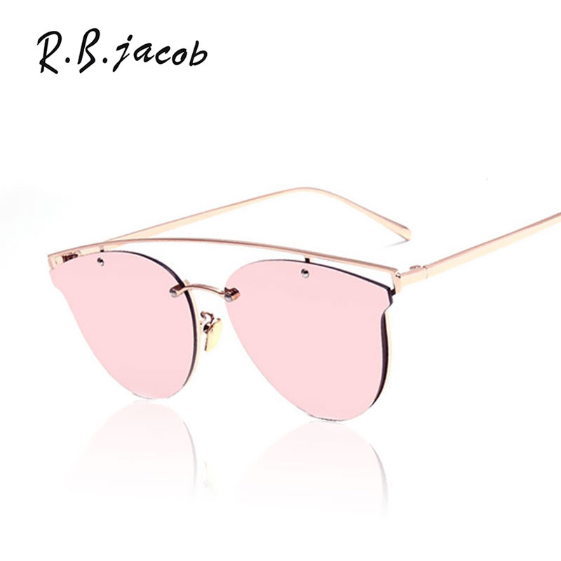New Cat Eye Mirror Sunglasses Brand Designer 2017 New Women Metal Frame Pink Yellow Ladies Transparent Sun glasses Oculos