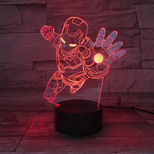 7 Color Changing Iron Man Modelling LED 3D Night Lights Luminarias Super Hero Creative Ambient Table Lamp Home Decor Kids Gifts marvel superheroes 3d night lights novelty 3d touch iron man table lamp decoration 7 color rgb 3d led lights for kids gifts dec