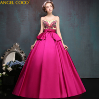 Luxury Gorgeous Rose red Pregnancy Maternity evening dress high waist pregnant women Plus Size Ball Gown Prom Dress Evening Gown