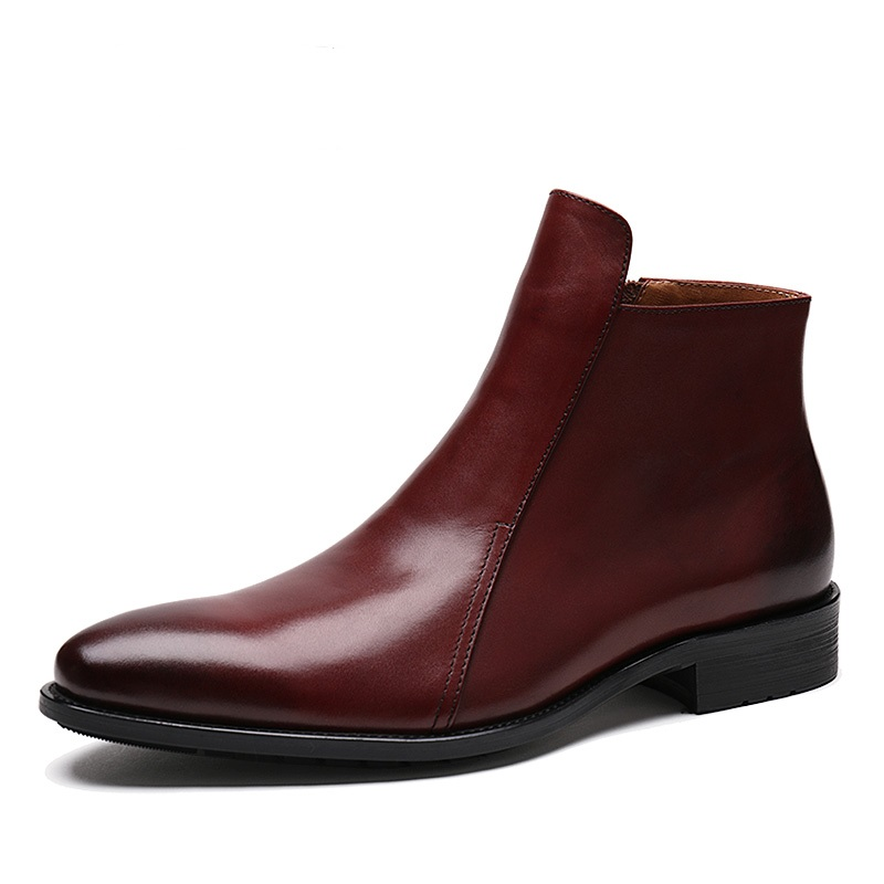 Fashion brown tan / black pointed toe zipper mens ankle boots genuine leather dress shoes mens winter office shoes