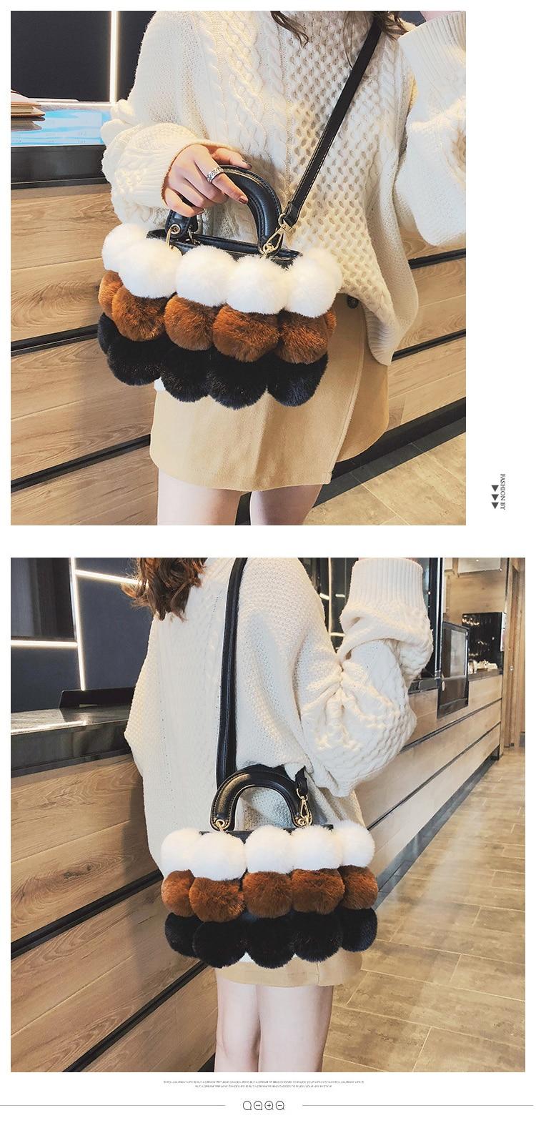 shop sale Fluff Panelled Barrel-shaped Winter Shoulder Crossbody Bag