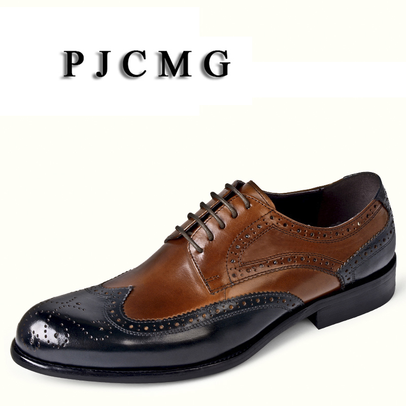 PJCMG New Fashion Comfortable Patchwork Genuine Leather Lace-Up Carved Pointed Toe Flat Man Casual Classic Dress Gentleman ShoesPJCMG New Fashion Comfortable Patchwork Genuine Leather Lace-Up Carved Pointed Toe Flat Man Casual Classic Dress Gentleman Shoes