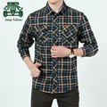 AFS JEEP Falow Red/Army Green Real Man's Cargo Mutil Pockets Shirts,Full Sleeve Single Buttons Cardigan Cotton Plaid Shirts
