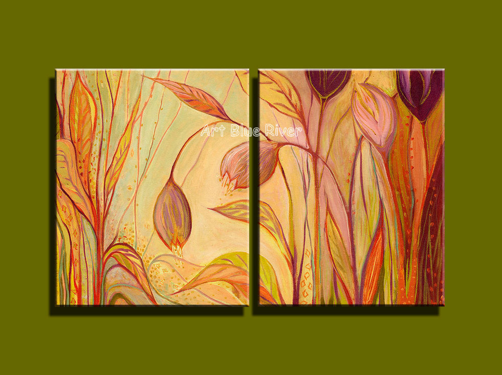 Aliexpress.com : Buy 2 piece pink purple floral Abstract wall art ...