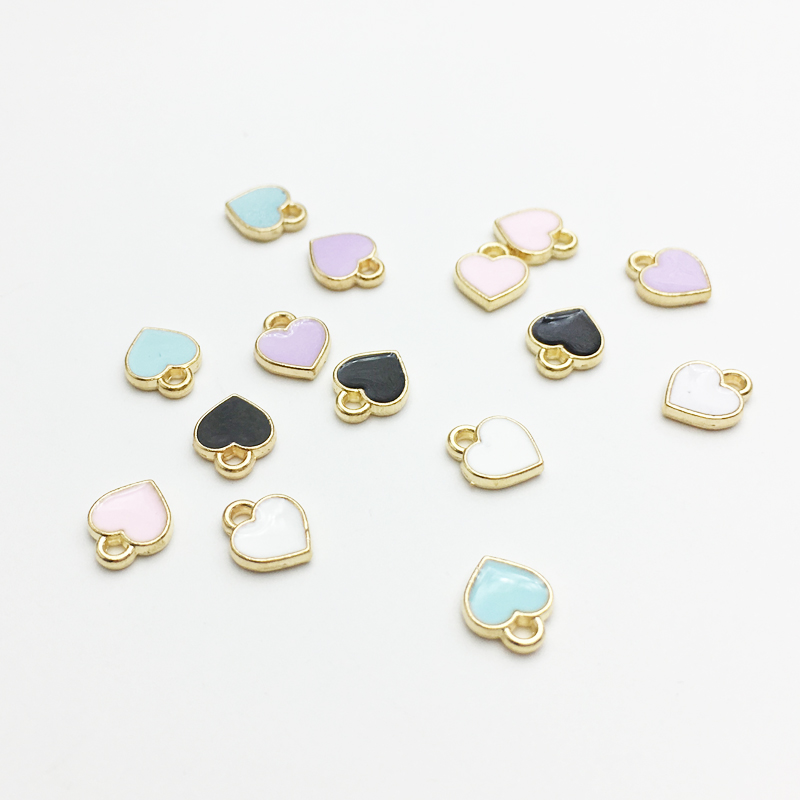 50pcs/lot Fashion Small Heart Shape Charms 7*8mm Gold Tone Oil Drop DIY Bracelet Floating Charms(China)