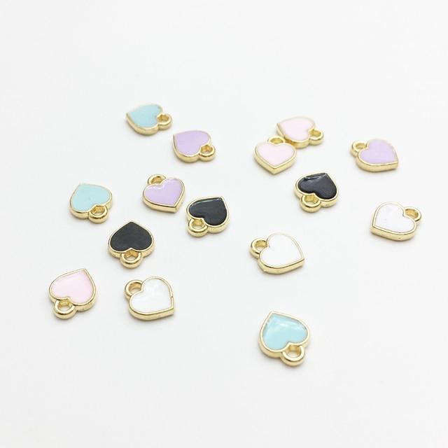 50pcs/lot Fashion Small Heart Shape Charms 7*8mm Gold Tone Oil Drop DIY Bracelet Floating Charms