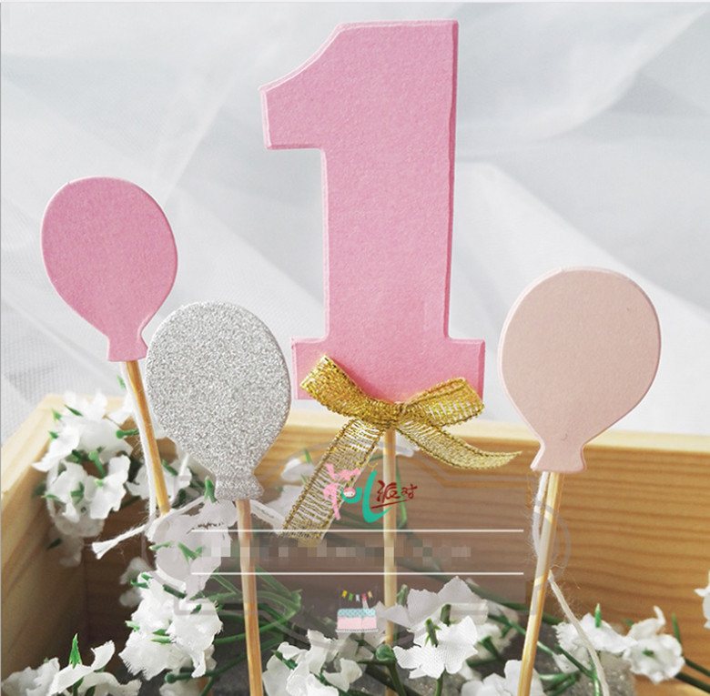 Number One Babyshower Gold Pink Glitter Numbers Personalized Cake Topper Kit Wedding Birthday Cupcake Party Decorations