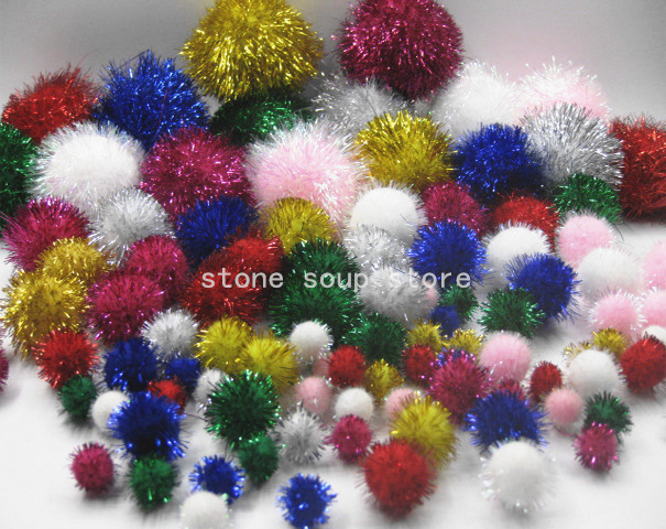 Home & Garden Hearty 8-200pcs Colorful Fluffy Plush Soft Pompom Balls Glitter Tinsel Pom Pom Balls For Diy Kids Decor Cat Toys 10-45mm Refreshment