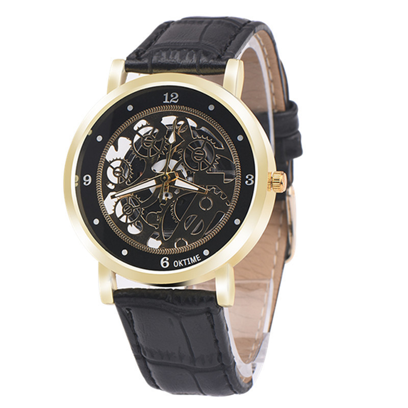Luxury Brand OKTIME Casual Dress Clock Men Analog Hour Auto Date Leather Quartz Neutral Table Watches Montre Homme Hot Marketing high quality luxury brand men sports waterproof watches quartz hour clock men leather strap montre homme with auto date