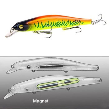 1pcs Fishing Lure Minnow 12.5cm/17.7g Topwater Artificial Bait 3D Eyes Plastic Wobblers Tackle Pesca Far-casting Magnet System 1