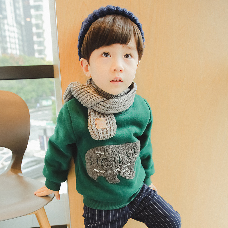 2018 Children Outerwear Fashion Kids Sport Shirt for Boys Cartoon Elephant Pattern Warm Fleece Sweatshirt Baby Boy&girl Clothes