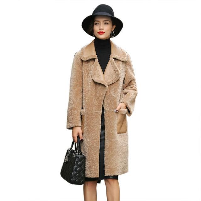 Abrigo piel oveja mujer
