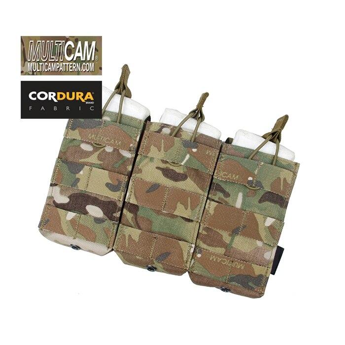 TMC Cordura Multicam Triple MOLLE Open Top 5 56 Magazine Pouch Multicam Black AOR1 SKU051131