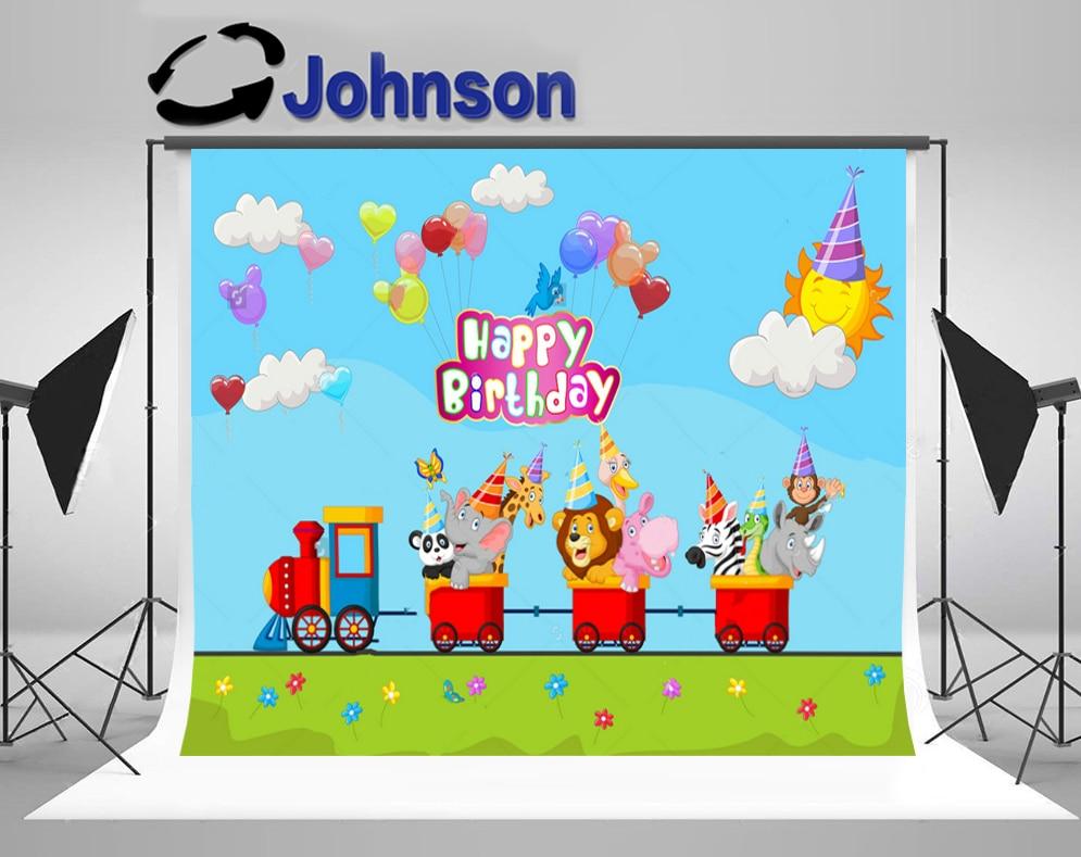 Safari Birthday Animal Train clouds balloon sun background Vinyl cloth High quality Computer print wall backdrop