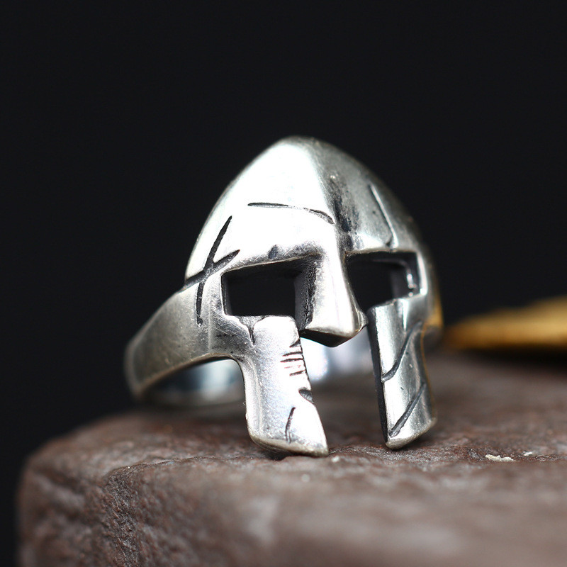 Спартанский Герой Маска Серебро 925 Для мужчин s Кольца Прохладный стерлингового серебра 925 Для мужчин ювелирные изделия Черный Античный тай...