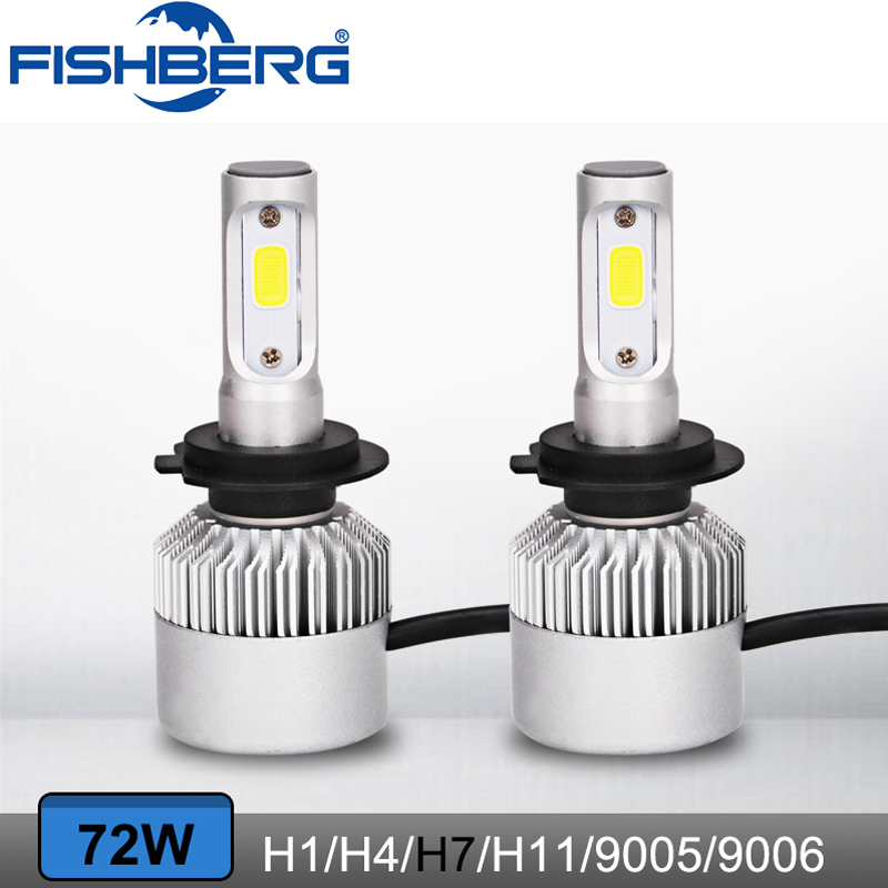 2pcs S2 H4 H7 H11 9005HB3 6500k COB Chips Light Auto Car Headlight 8000LM 72W Turbo Led Car Head Bulbs SUV Fog Lamp S2 12V 24V