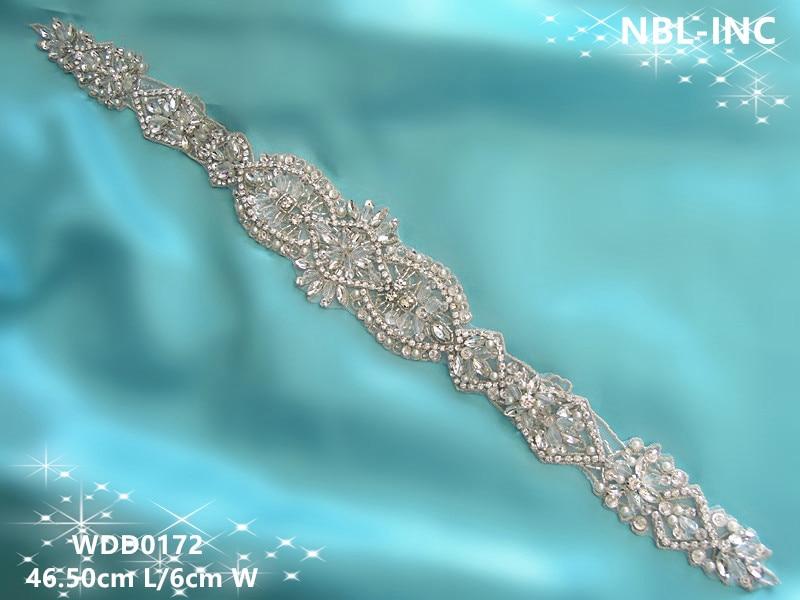 இ( 30pcs) Wholesale bridal sash handmade beaded sewing rhinestone ...