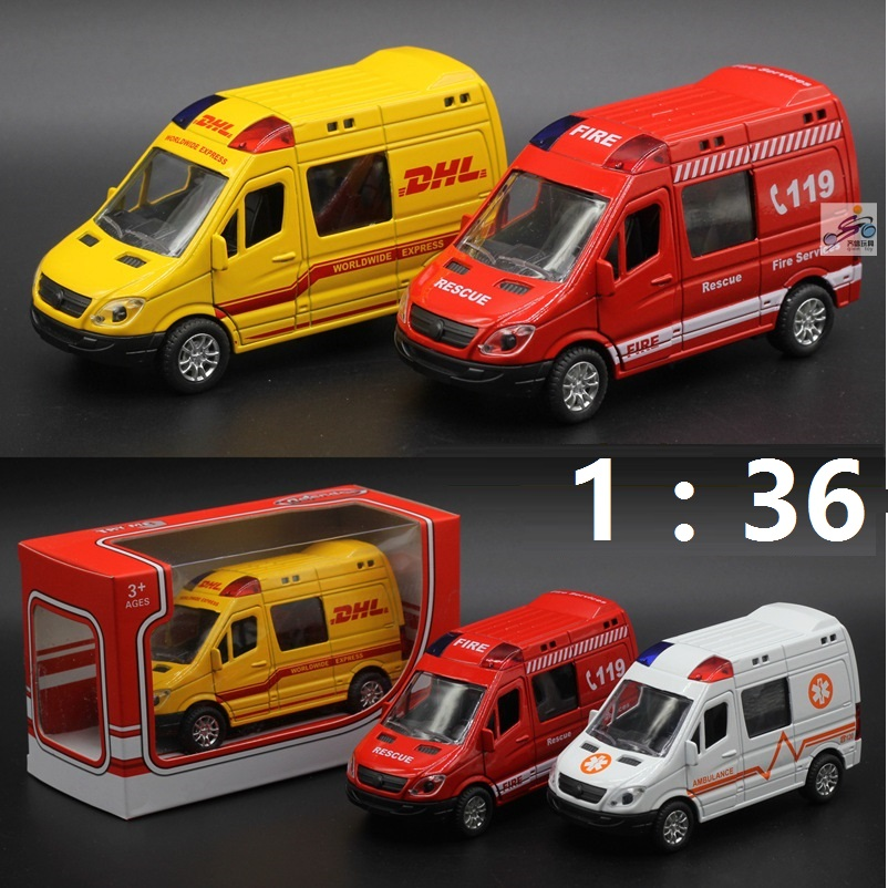 Hot sales Metal Pull Back Alloy Ambulance <font><b>Cars</b></font> Motor Racing /Fire Engine Model <font><b>toys</b></font> children's Educational Gift Musical,Flashing image